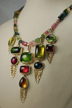 Custom Yellow Gold and Tourmaline Necklace #ithaca #custom #gem #necklace #jewelry #jeweler