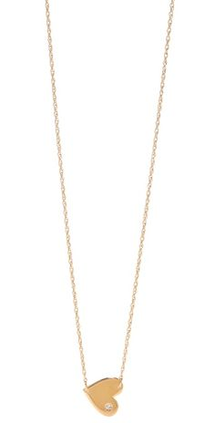 """Cute 1/2"""" gold heart on a gold-vermeil chain necklace w/ a 0.02 ct diamond in the heart pendant--By Jennifer Zeuner"""