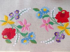 Table runner hungarian folk theme colourful flowers by embroidream, $72.00