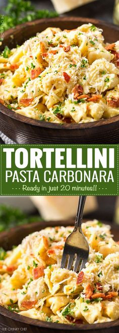 20 Minute Tortellini Pasta Carbonara | Cheese tortellini pasta is coated in a rich carbonara sauce, sprinkled with bacon and Parmesan cheese. It's the perfect weeknight dinner! | http://thechunkychef.com (Italian Recipes)