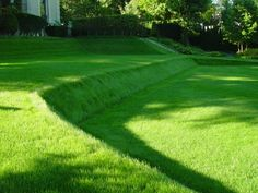 grass on slope. Could make slope less steep for easy mowing