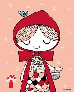 LeeLee's Wonderland: Misha Lulu presents Mishaland Little Red Ridding Hood, Red Riding Hood, Cartoon Girl Drawing, Illustrations, Drawing For Kids, Nursery Prints, Cute Illustration, Baby Decor, Cute Stickers