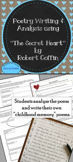"Teach critical thinking, analysis, and creative writing using the poem ""The Secret Heart"" by Robert Coffin. This delightful poem tells the story of a childhood memory a son has about his father.   This resource will guide your students' understanding of the poem by using the TP-FASTT and DIDLS analysis acronyms.   The lesson ends with an opportunity for students to write their own childhood memory poem based on the format of ""The Secret Heart."""