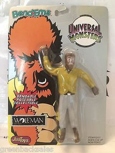 (TAS030473) - 1990 JusToys Bend-Ems Universal Monsters - Wolfman Figure
