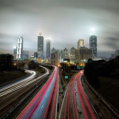 A foggy Atlanta skyline