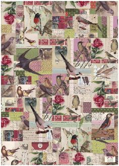 antique birds wrapping paper - so pretty