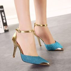 Fashion Pointed Toe Belt Buckle Stiletto Shoes - Shoes