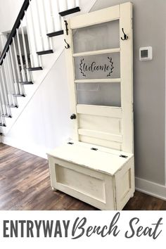 Find out how to re-purpose an old farmhouse door into a Hall Tree Bench Seat. This easy DIY furniture makeover project is perfect for any farm style home decor. Cheap Furniture Makeover, Diy Furniture Renovation, Diy Furniture Easy, Diy Furniture Projects, Repurposed Furniture, New Furniture, Dresser Furniture, Furniture Storage, Furniture Design