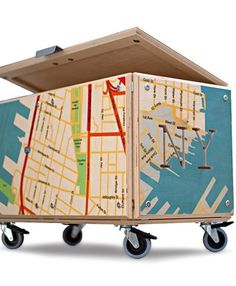 """.For storing the trains - side tables with storage!  Get train """"maps"""" from any big city in Europe!  Use on front porch?"""