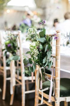 Image by Ann Kathrin Koch. - A Scottish Highlands Wedding At Coos Cathedral With A Raimon Bundo Weddding Dress And A Craspedia And Succulent Bouquet Photographed By Ann Kathrin Koch. Wedding Chair Sashes, Wedding Chair Decorations, Wedding Chairs, Purple Wedding, Wedding Flowers, Wax Flowers, Dream Wedding, Succulent Bouquet, Wedding Etiquette