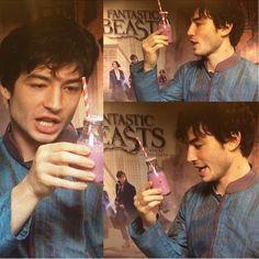 Ezra serenading his blueberry shake