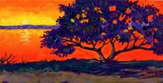 """""""Matanzas Inlet Sunset""""  acrylic, golden open, matanzas inlet, painting, St. Augustine Florida, sunset, painting by artist Chris Ousley"""