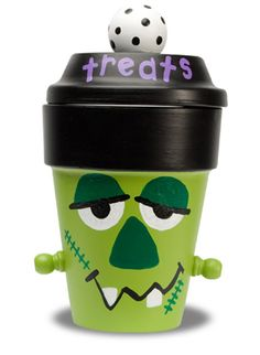 Halloween Treats Jar or for your outside decorations, & to hold your beautiful fall mums, you could leave off the lid and use a larger pot