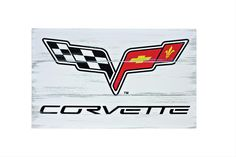 Corvette Logo Weathered Wood Sign - Free Shipping on Orders Over $99 at Genuine Hotrod Hardware