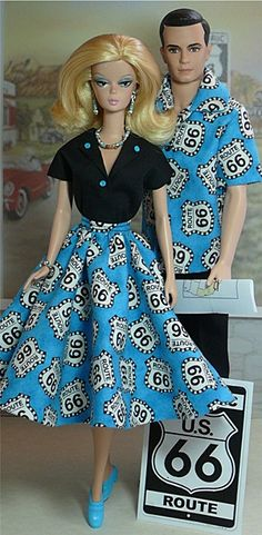 Barbie and Ken in Route 66 fashions from donnasdolldesigns.com