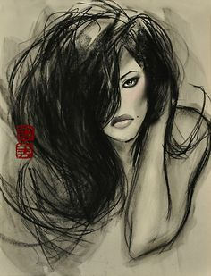 Charcoal Drawing Design one dark whisper. by mimi yoon - Beautiful Artwork, Black Art, Easy Drawings, Love Art, Creative Art, Amazing Art, Fashion Art, Fantasy Art, Art Photography