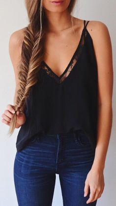 Casual look ! Denim, tank top and fishtail braid