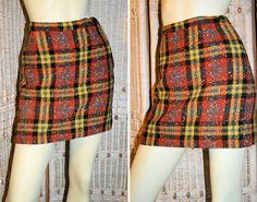 60's Mod Orange Yellow Wool Plaid Mini Skirt S. $35.00, via Etsy.
