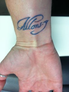 "Left wrist. And then Geronimo on my right wrist. Allons-y is the 10th Doctor's catch phrase. ""Geronimo"" is the 11th's :)"
