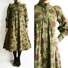 VINTAGE 70S GORGEOUS GREEN PURPLE FLORAL LAURA ASHLEY 8-10 BOHO EDWARDIAN