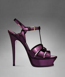 YSL Tribute High Heel Sandal in Purple Shiny Leather