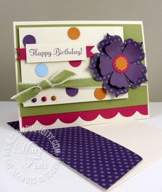Happy Birthday Card with flowers and ribbon