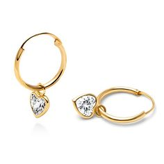 Fearless Heart CZ Dangle, Hoop Earrings - 14K Gold