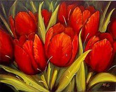 Red Tulips pintura em tela - Pesquisa Google by artist.?.?.? ♥♥