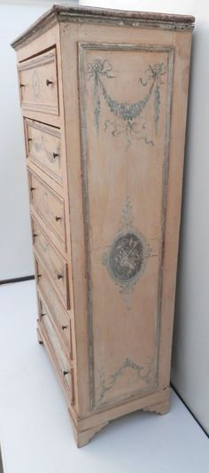 Painted Furniture Patterns | ... Ca.1910 Tall Venetian chest 6 drawer h painted distressed peach silver