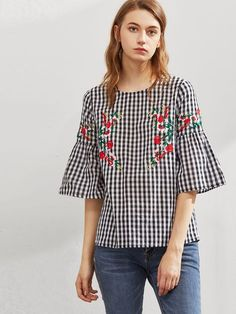 DIDK Symmetric Flower Embroidered Fluted Sleeve Checkered Top Black and White Plaid Three Quarter Length Sleeve Blouse Black Bell Sleeve Top, Look Girl, Casual Outfits, Fashion Outfits, Embroidered Clothes, Short Tops, Indian Designer Wear, Blouse Designs, Feminine Fashion