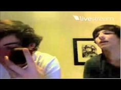 Louis Tomlinson and Harry Styles Twitcam  I'm bringing this back because it was the best twitcam. And someone pinned the picture of Louis doing Harry's hair so it just reminded me of it. Full thing by the way!!!