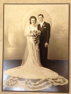 Vintage Antique Wedding Photo Chicago, IL. Clothing Dress Flowers Man and Woman
