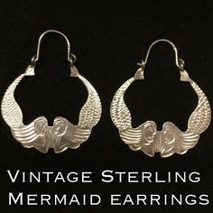 """Rare Sterling Silver Etched Mermaid Earrings These are a rare vintage Sterling silver etched mermaid earrings. Marked 925. Measures 1.5"""" long by 1.25"""" wide. There isn't enough I can say about these vintage earrings except they are so detailed being etched on entire earrings with beautiful mermaid details. I have personally never seen anything like these & took me a long time to decide to sell them. Thanks for stopping by! I ship out same day! Bundle & Save! Please make REASONABLE offer using…"""