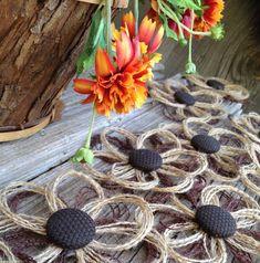 Rustic Burlap Daisy Flower Set of 12 Home Decor por resadavid