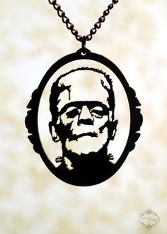 Frankenstein necklace in black stainless steel by FableAndFury