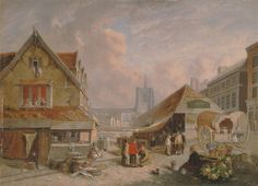 David Hodgson, 1798–1864, British, The Old Fishmarket, Norwich, 1825, Oil on panel, Yale Center for British Art, Paul Mellon Collection