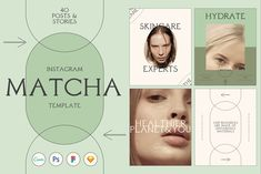 Matcha Skincare Instagram Template by Luna Studio on @creativemarket Instagram Feed, Instagram Story, Instagram Posts, Blog Design, Web Design, Graphic Design, Design Ideas, Screen Icon, Youtube Channel Art