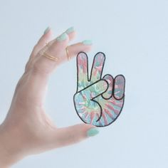 Peace Sign Hand Tie Dye Patch / Iron-On, Embroidered Patch / Becca, Kyrstin
