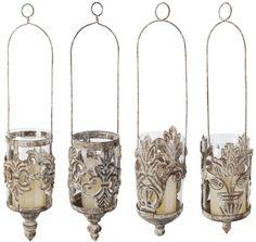 Esschert Design USA AM07S Aged Metal Hanging Lanterns in Assorted Styles, Set of 4