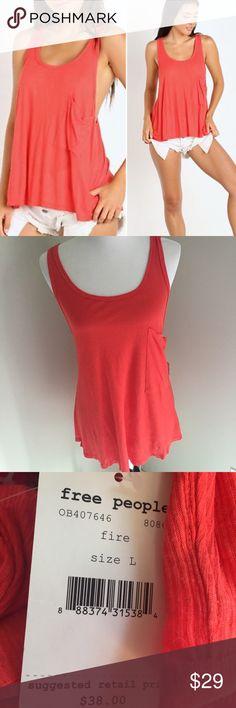 FREE PEOPLE Linen Rib Hot Pocket Tank Large NWT FREE PEOPLE Linen Rib Hot Pocket Tank Large NWT. Super cute oversized tank that looks perfect with a strapping bralette!  Color is: Fire - do you dare? Retail is $38 Free People Tops Tank Tops