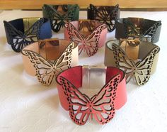 Butterfly Leather Cuff Butterfly Wrap Bracelet by giveitengraved