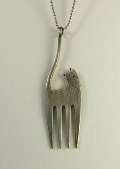 Francisco The Fork Cat - Up Cycled Sterling Silver And Up Cycled Fork - Art Jewelry Pendant - 1196
