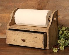 Country Primitive Rustic Distressed Wood Paper Towel Holder Box Drawerr Shelf