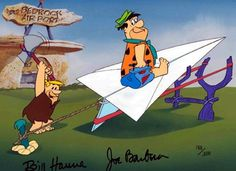 Flintstones Paper Airplane / HB1071-FLINTSTONES-PAPER-AIRPLANE / Hanna Barbera / Hand Painted Limited Edition Cels / Animation Connection / Cartoon Art / Cels (Cells) / Online Sales