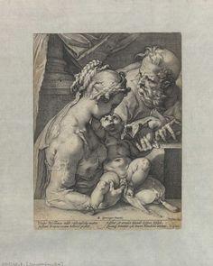 BNDigital - Hendrik Goltzius [1558–1617]. A Sagrada Família, 1580 [segundo Bartolomeu Spranger]. buril, 28,2 x 21 cm.