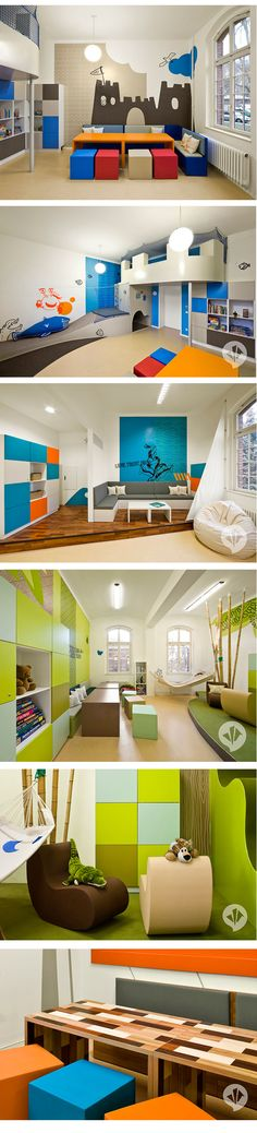 The fun kids room designs you see here were created by Dan Pearlman for the kids' psychiatry ward at a German hospital - a great example of thoughtful, appropriate and wellness promoting design. Architects worked along with doctors to devise this interior concept that facilitates communication and promotes comfort and enjoyment. The goal is to avoid this clinical atmosphere and instead introduce color and life. The color scheme is what struck me right away. #children #interior #room #colors