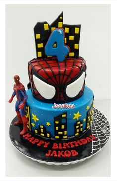Spiderman Birthday Cake Images, Pictures Ideas For Celebration: Beautiful and best Happy Birthday Spiderman cake bday pics, photos for cutting celebration are Birthday Cakes For Men, Spiderman Birthday Cake, Superhero Cake, Superhero Birthday Party, Cakes For Boys, 5th Birthday, Spiderman Theme, Birthday Ideas, Spider Man Party