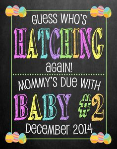 Easter Pregnancy Announcement Chalkboard // by MMasonDesigns