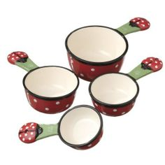 Midwest Ladybug Measuring Cup Set of 4 by Midwest. $23.95. Set measures 6.5 by 4 by 2 inches. Colorful and fun. Ceramic. Microwave and Dishwasher Safe. Set of 4. Add this set to your kitchen for extra baking and cooking fun.  Ceramic measuring cups are accurate and decorative. Includes 1 cup,1/2 , 1/3 and 1/4 cups .  Glazed ceramic.