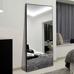 Image of Hans&Alice Rectangle Full Length Bedroom Floor Leaner Mirror, PS Finished Frame Dressing Mirror, (White) in bedroom full length Hans&Alice Rectangle Full Length Bedroom Floor Leaner Mirror, PS Finished Frame Dressing Mirror, 65 Full Length Mirror In Bedroom, Full Body Mirror, Full Length Floor Mirror, Big Bedroom Mirror, Big Mirrors, Black Floor Mirror, Oversized Floor Mirror, Long Mirror, White Mirror